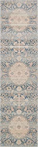 Unique Loom Paris Collection Pastel Tones Traditional Distressed Blue Runner Rug 2 7 x 10 0