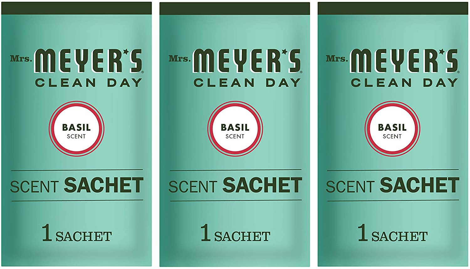 Mrs. Meyer's Clean Day Air Freshening Scent Sachets, Fragrance for Lockers, Cars, and Closets, Basil Scent, 3 ct
