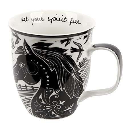 Karma Gifts Black and White Mug, Horse