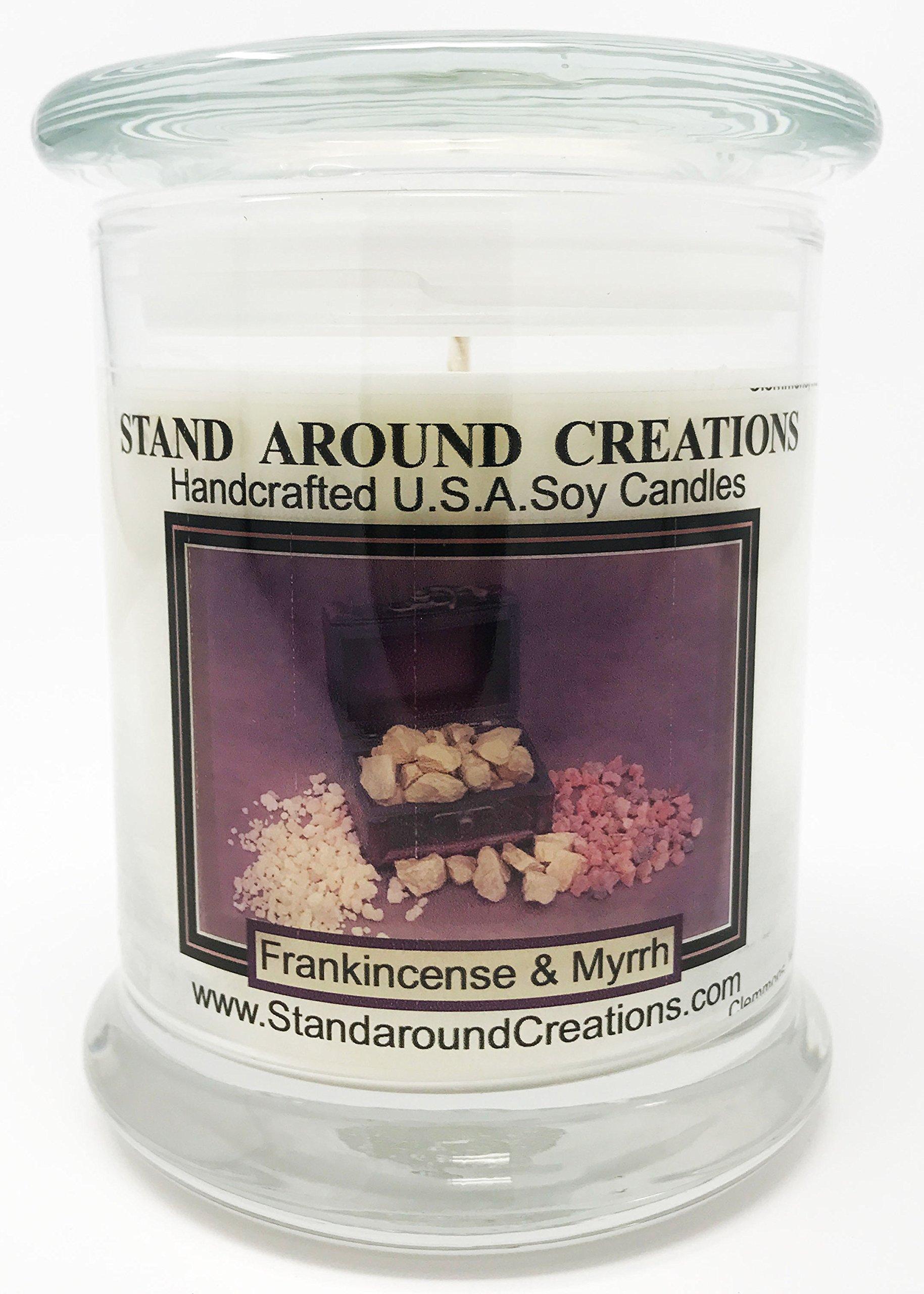 Premium 100% Soy Candle - 12 oz. Status Jar - Frankincense And Myrrh: A irresistible blend of bergamot, patchouli, sandalwood, myrrh essential oils. Naturally Strong Scented.