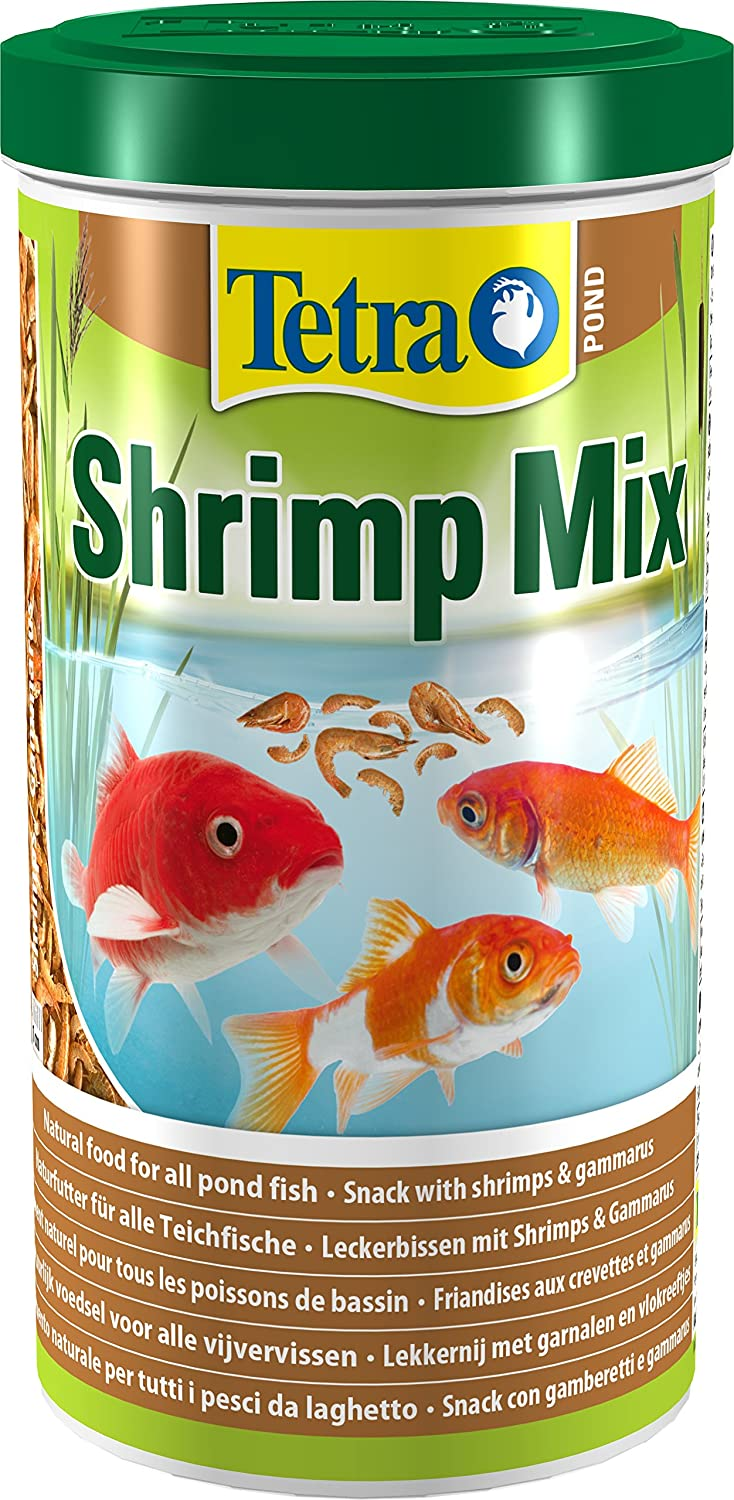 Tetra Pond Shrimp Mix, Natural Food Snack with Shrimps and Gammarus for All Pond Fish, 1 Litre 193499