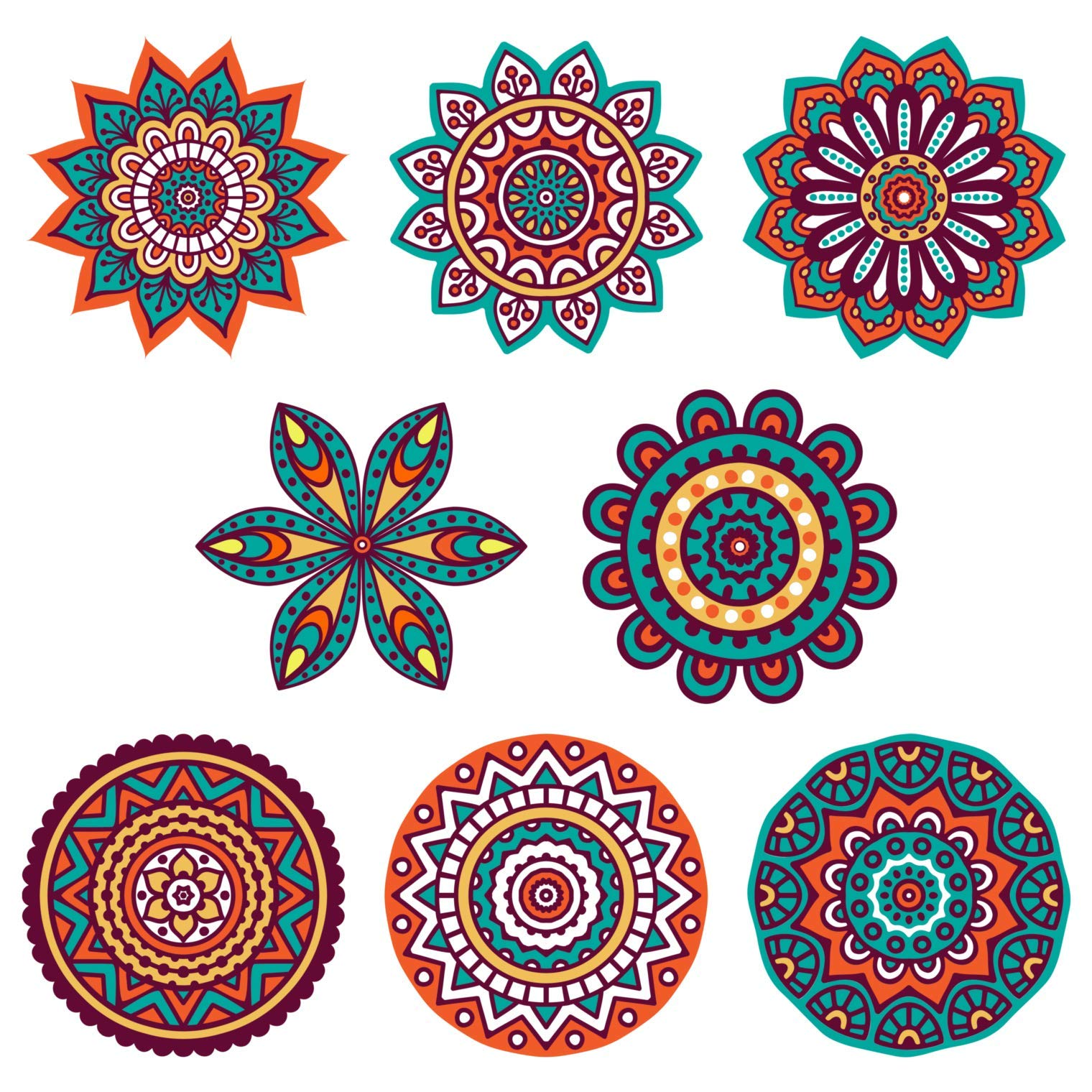 "Boho Decor :: Mandala Sun Catchers Window Clings (Set of 8) :: Stained Glass Window Art Decal/Cling :: Suncatchers for Windows Decoration :: Hippie Decor :: (Size :: 5.75"")"