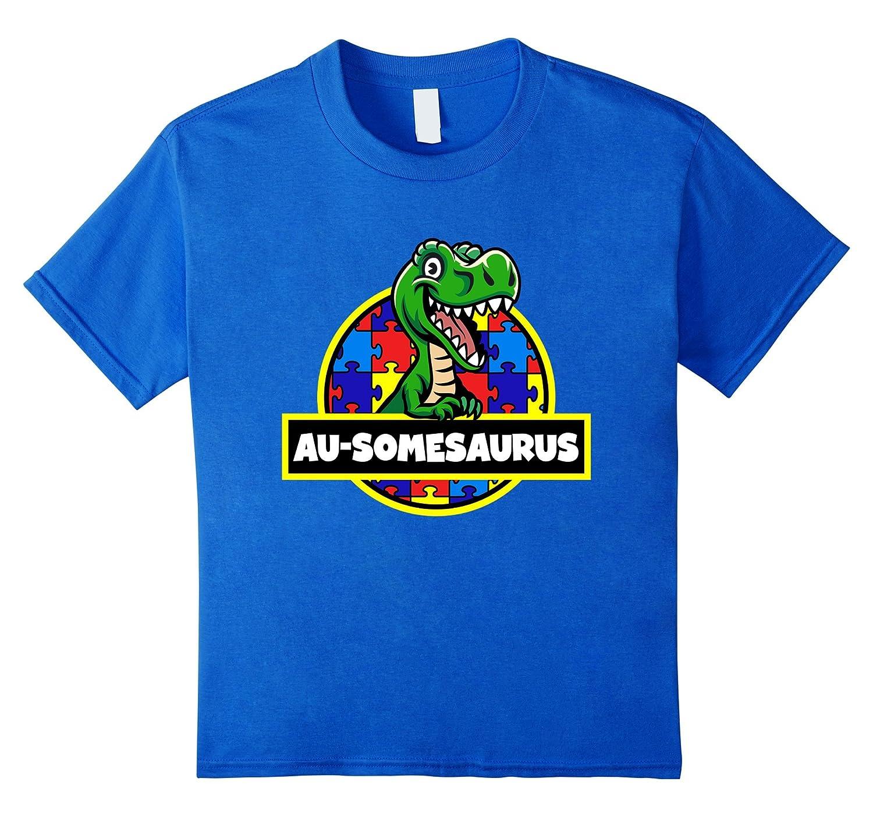 4ed12409 Amazon.com: Autism Shirt Ausomesaurus Dinosaur Puzzle Tee: Clothing