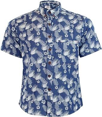 Jacksouth Nuevo Hombre Marca Chambray Hawaiian impresión Collar de algodón Camisa Casual: Amazon.es: Ropa y accesorios