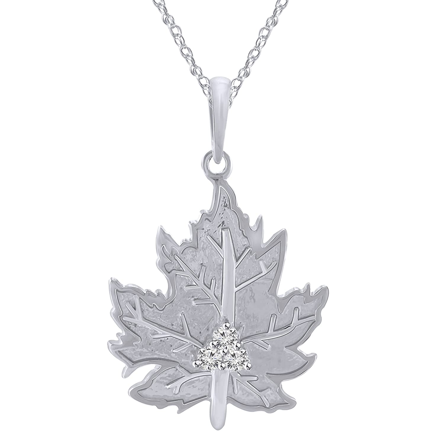 Pretty Jewels Round Genuine Diamond 0.08 Cttw 925 Sterling Silver Maple Leaves Pendant with 18 Chain I1-I2 Clarity