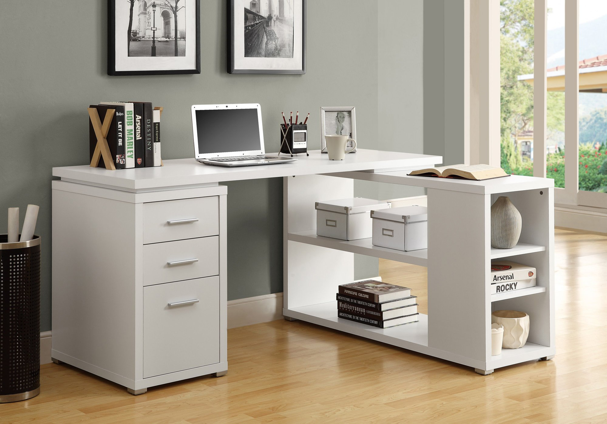 Monarch Specialties Hollow-Core Left or Right Facing Corner Desk, White by Monarch Specialties