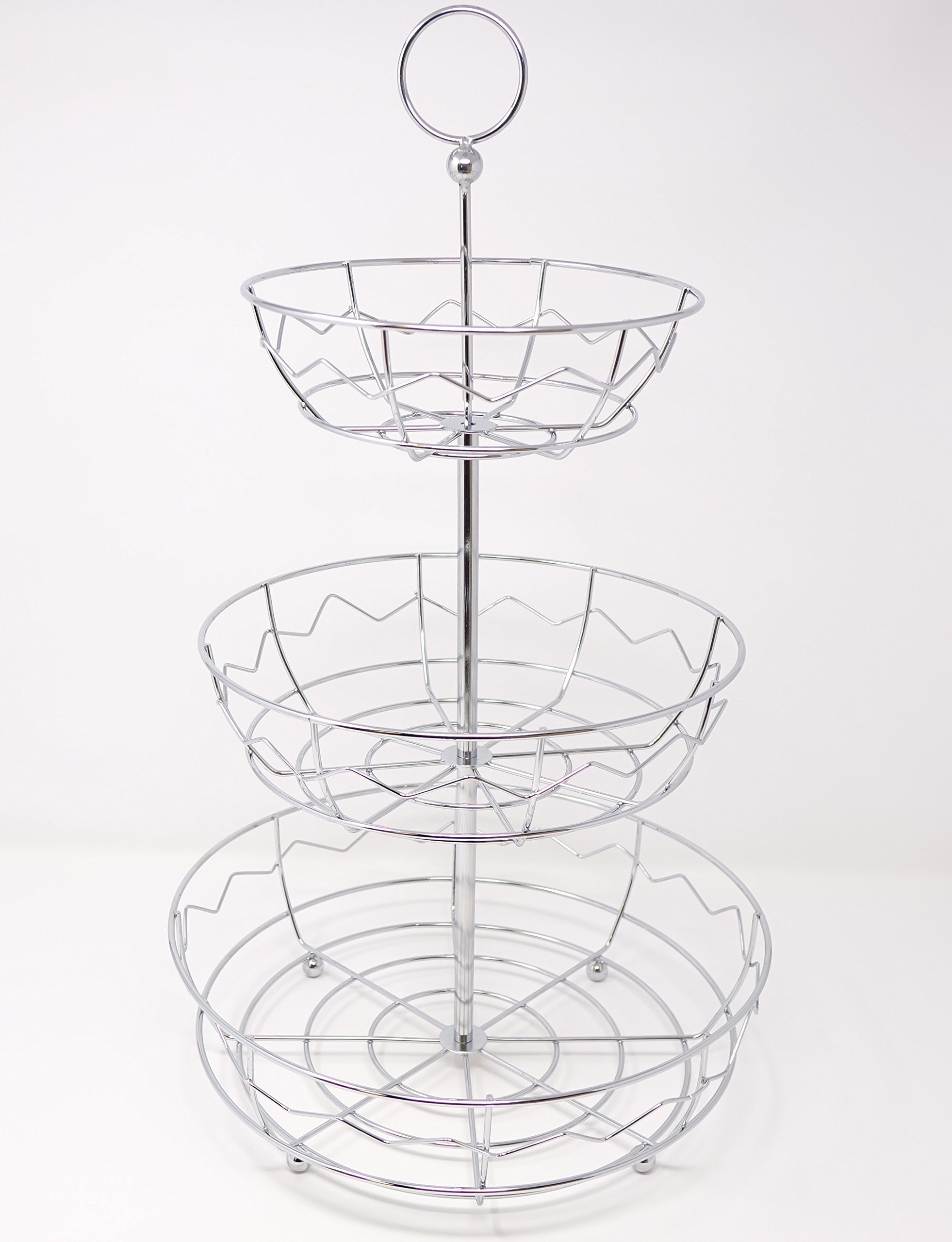 New Home Deal Stainless Steel Collapsible Multi Tiered Fruit Basket (3 Tier, Zig-Zag)