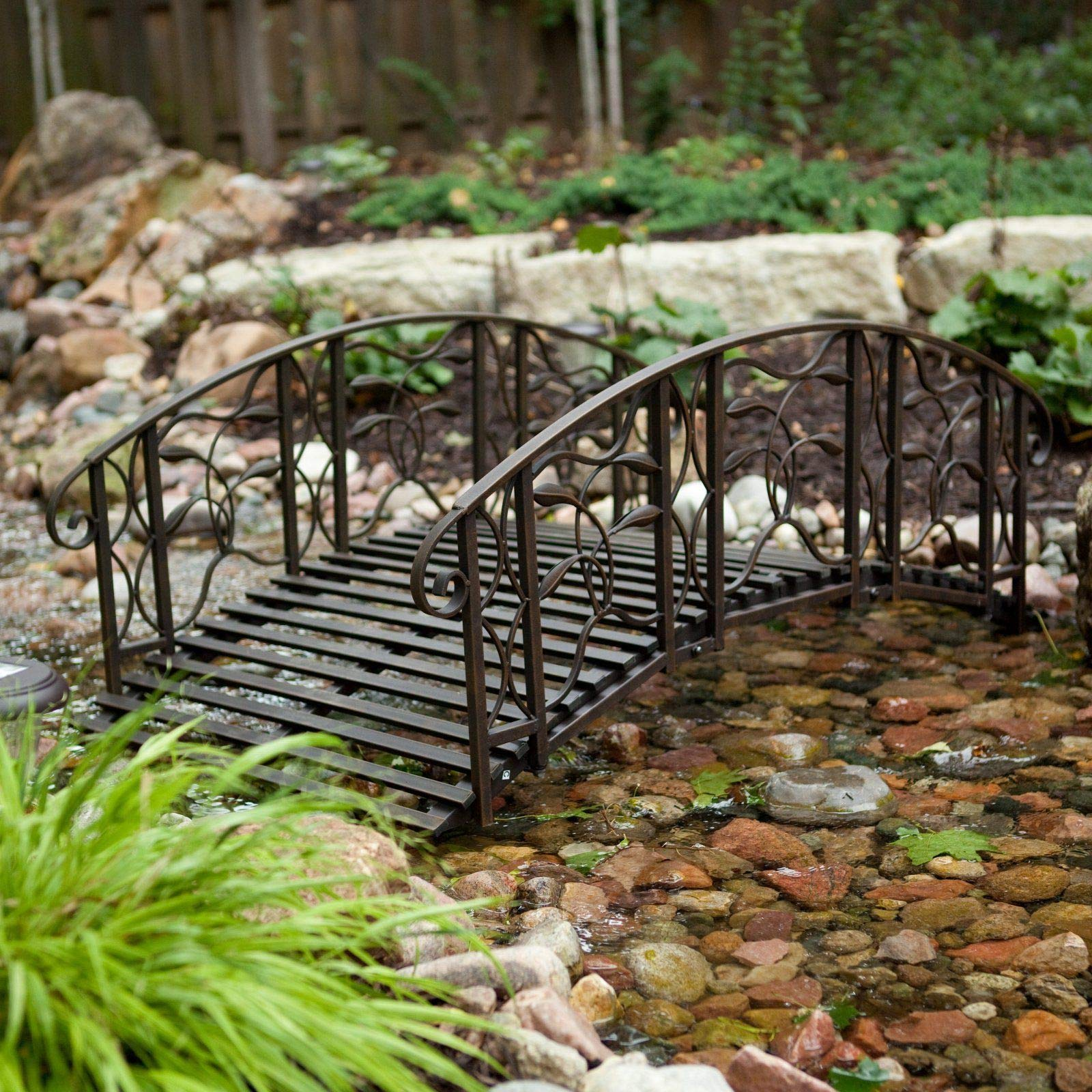 Home Improvements Weathered Black Finish Metal 4 Foot Garden Bridge Outdoor Yard Lawn Landscaping by Home Improvements (Image #3)