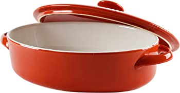 10 Strawberry Street Sienna Oval 1.75 Qt Bakeware with Lid (Red)