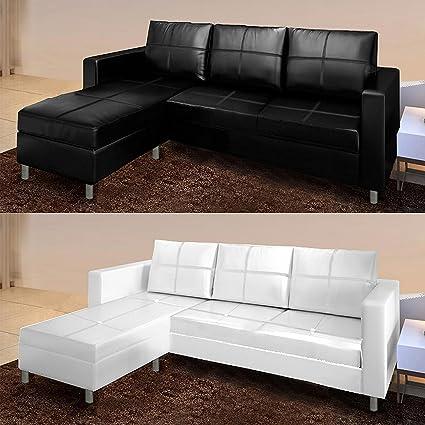 Divano Tre Posti Angolare.Bagno Italia Divano Angolare Moderno Ecopelle Con Pouf Sofa