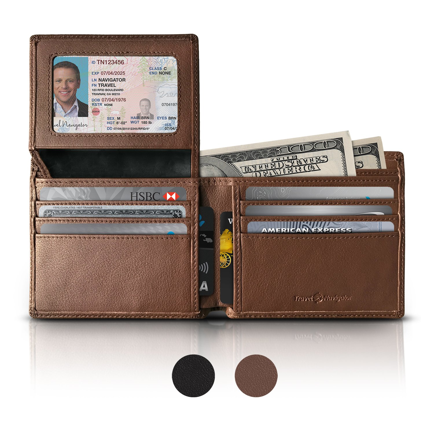 RFID Blocking Leather Wallets For Men, Brown