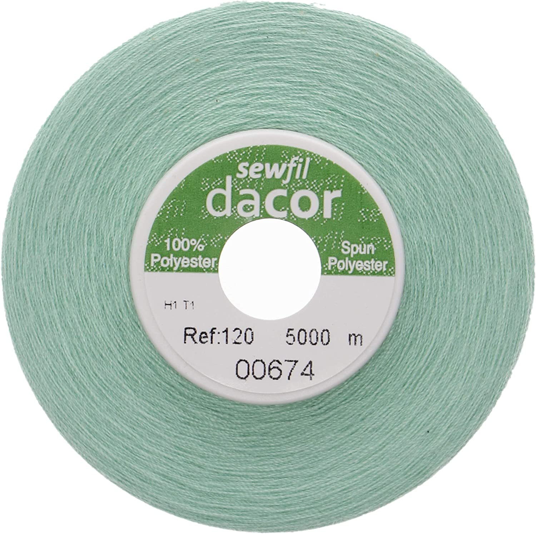 Sewfil dacor 120 - Cono de hilo de coser poliéster de 5.000 metros 0674 - Verde menta