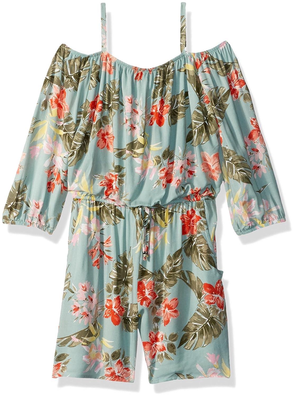 6e1496730155 Amazon.com  Amy Byer Girls  Big Long Sleeve Off Shoulder Print Romper   Clothing