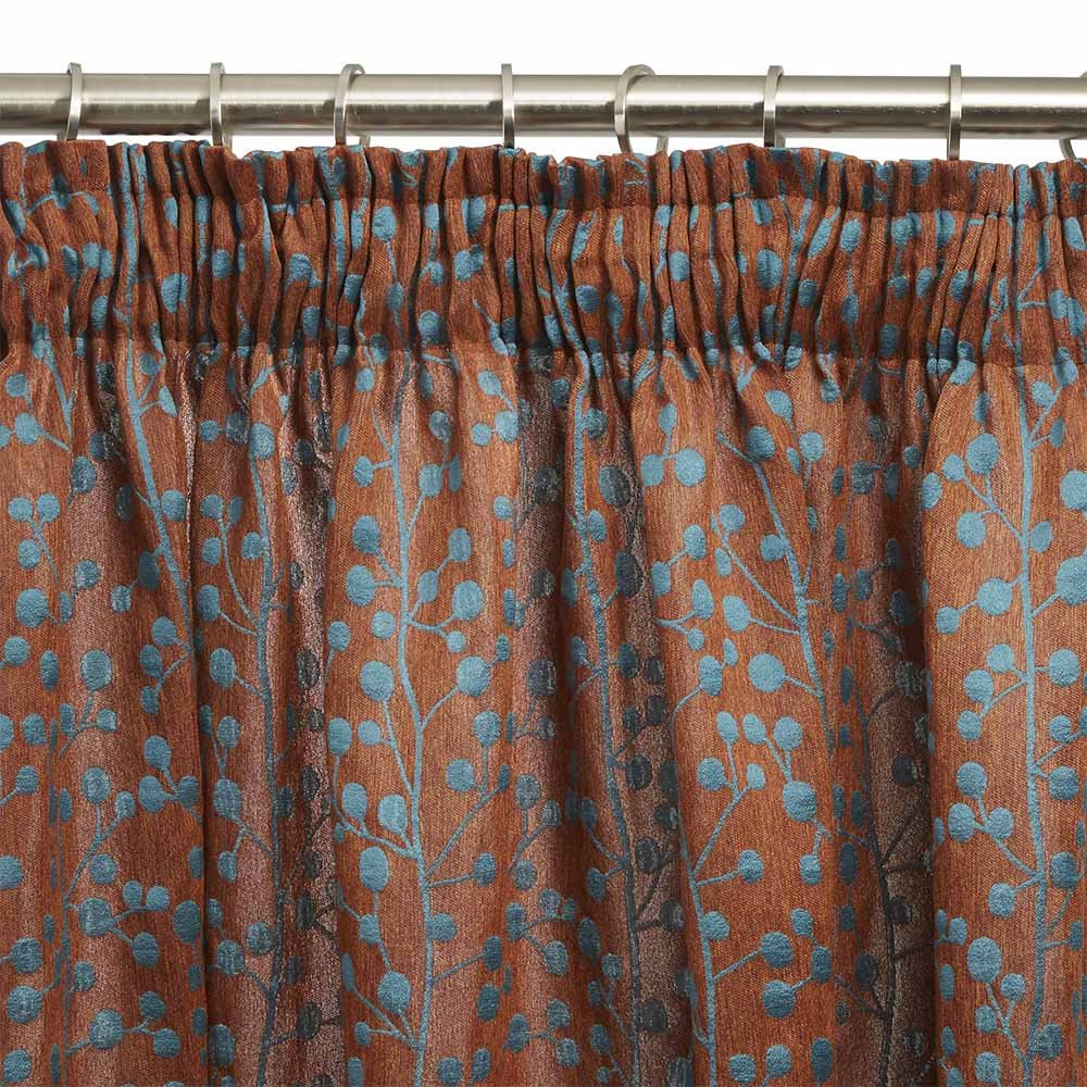 Madura Esmeralda Rideau /à Ruban Fronceur Polyester Orange//Bleu 145 x 291 cm