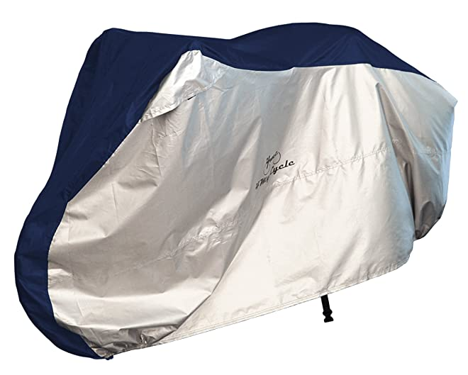 4MyCycle Bike Cover 190T Heavy Duty – Bicycle Cover Waterproof Outdoor – Suits Mountain Road, Electric and Cruiser Bikes – Royal Blue & Silver