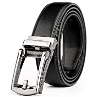 """WERFORU Leather Ratchet Dress Belt for Men Perfect Fit Waist Size Up to 44"""" with Automatic Buckle"""