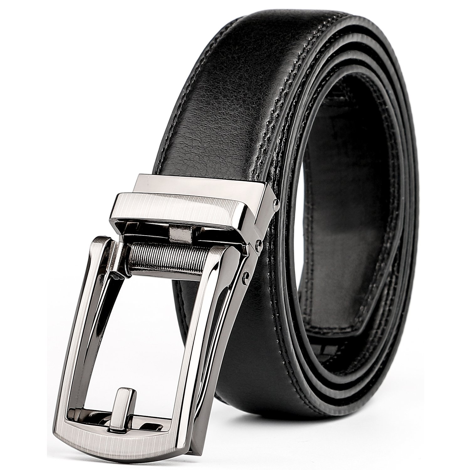 WERFORU Leather Ratchet Dress Belt for Men Perfect Fit Waist Size Up to 44'' with Automatic Buckle by WERFORU