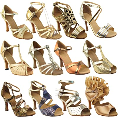"""50 Shades Of Gold Dance Shoes Collection, Comfort Evening Dress Wedding Pumps, Ballroom Shoes For Latin, Tango, Salsa, Swing, Theather Art by 50 Shades (2.5"""" 3"""" & 3.5"""" Heels)"""