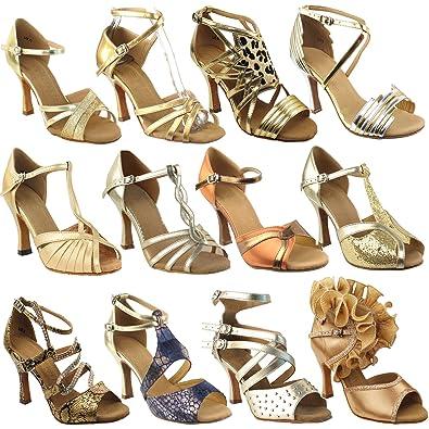 8818a72ca6d2d Amazon.com | 50 Shades of Gold Dance Dress Shoes: Ballroom Salsa ...