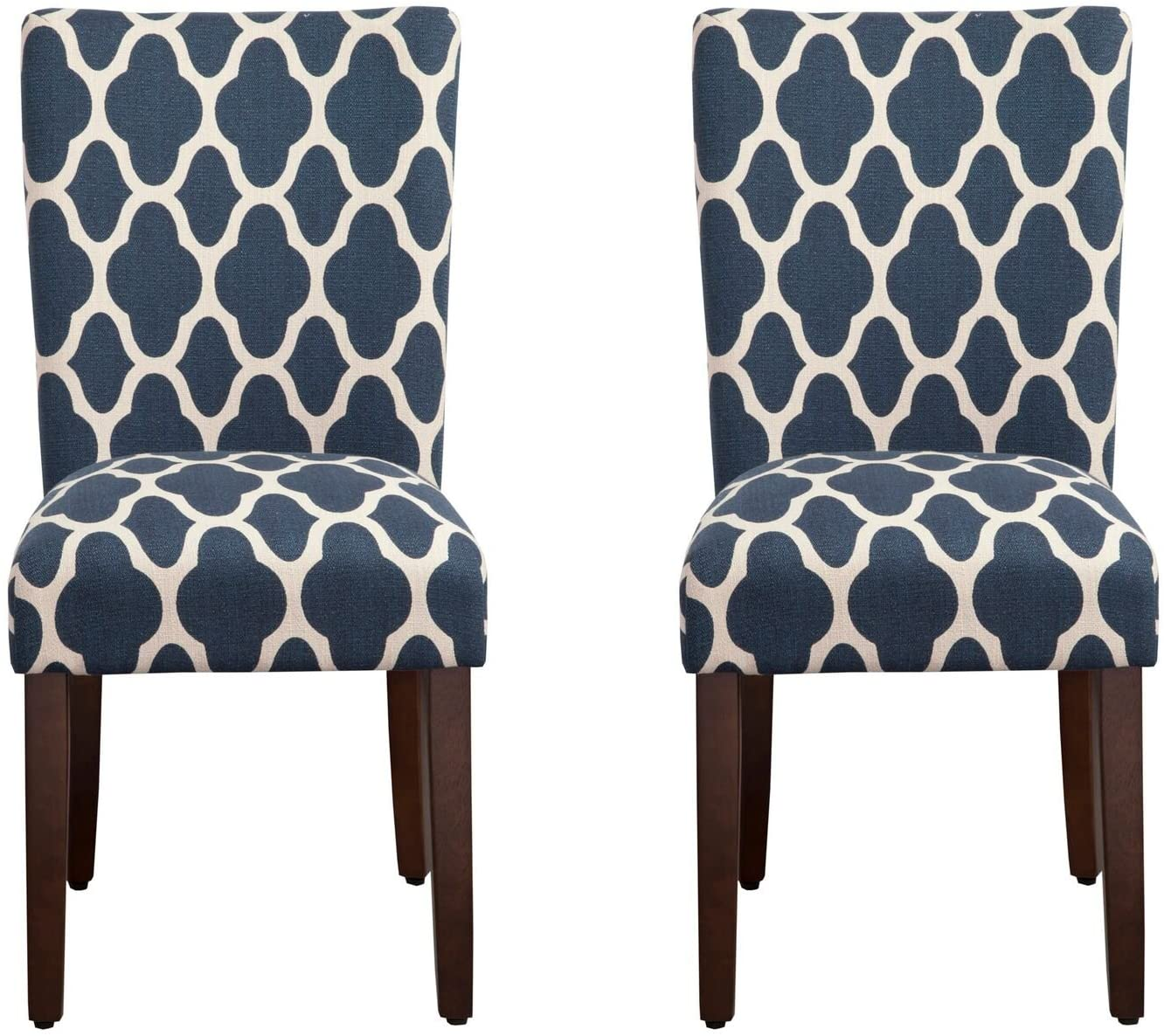 HomePop Parsons Classic Upholstered Accent Dining Chair, Set of 2, Navy and Cream Geometric - - Chairs