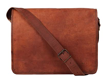 Rustic Town 15 inch Vintage Crossbody Genuine Leather Laptop Messenger Bag 94786ec082c02
