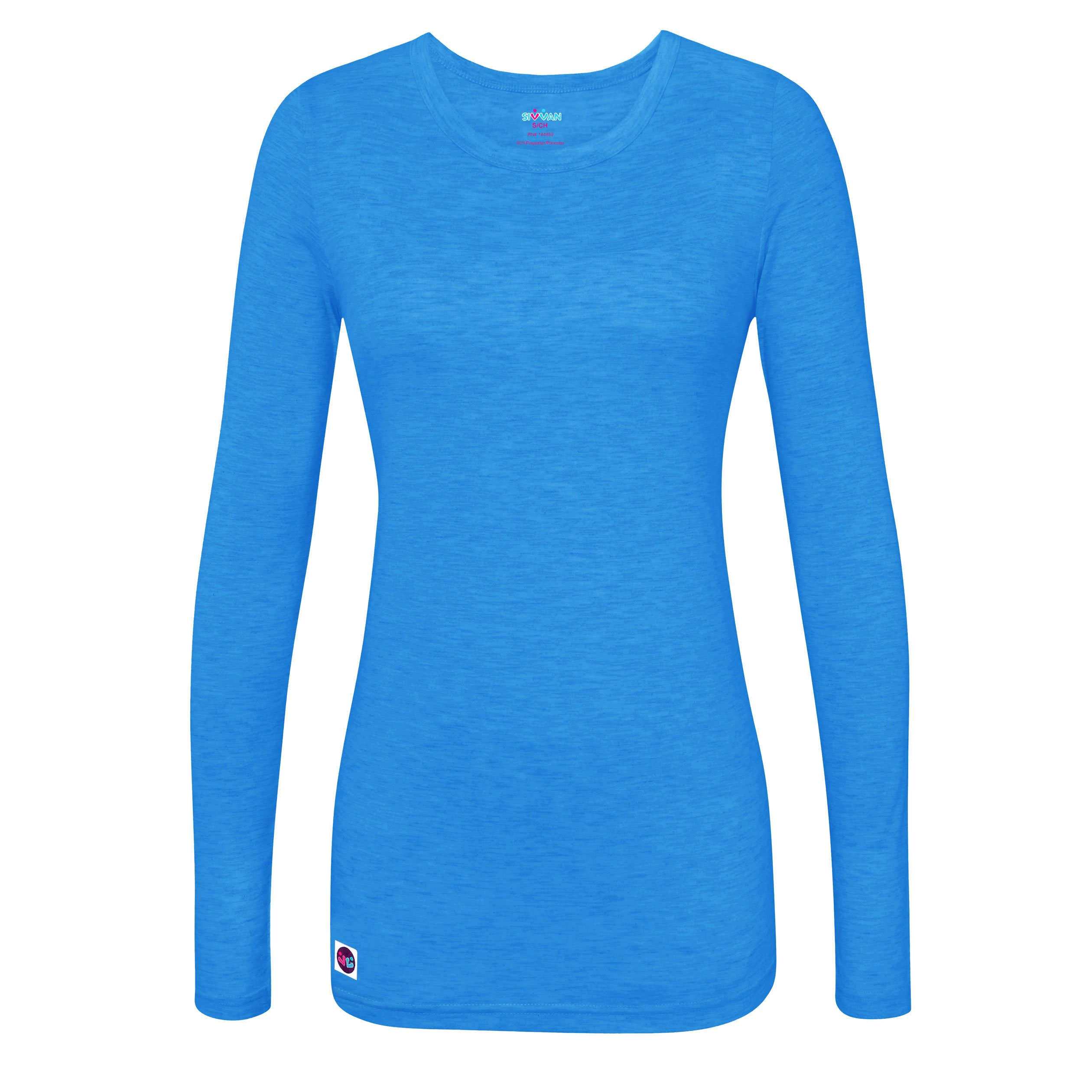 Sivvan Women's Comfort Long Sleeve T-Shirt / Underscrub Tee - S8500 - Heather Pool Blue - XXS by Sivvan