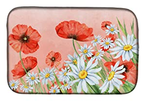 "Caroline's Treasures BB7448DDM""""Poppies And Chamomiles"" Dish Drying Mat, 14"" x 21"", Multicolor"