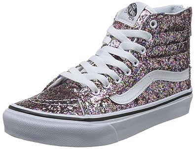 Vans Unisex Sk8-Hi Slim Zip (Chunky Glitter) True Wht Skate Shoe 7 ... b8a5a44e3