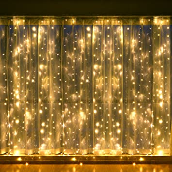 Curtains Ideas curtain lighting : Amazon.com : Leapair Curtain Lights 600LED 19.69 x 9.8Ft (6MX3M) 8 ...
