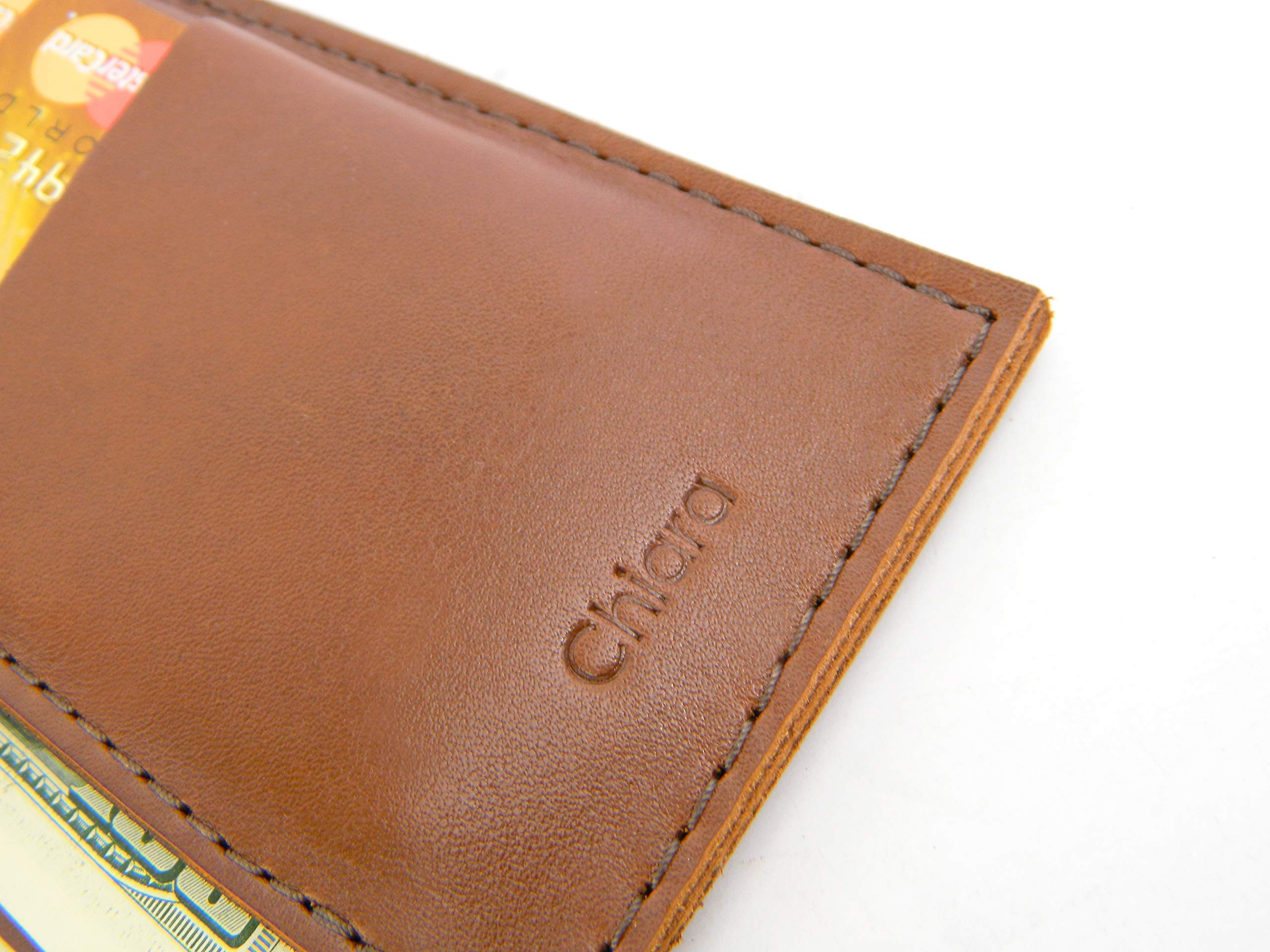 Chiara Collection Men\'s, Women\'s Genuine Leather Long Wallet Card Holder Phone Case (Brown)