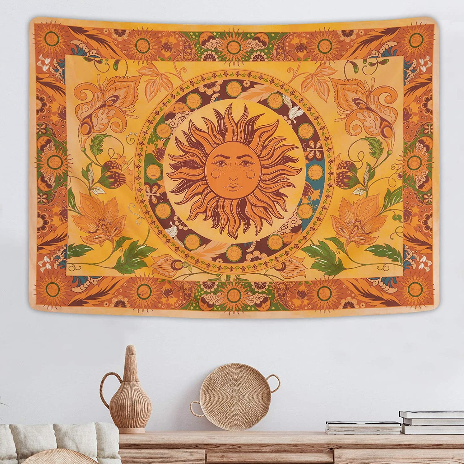 Directly managed store Burning Sun Tapestry Flower Vines Philadelphia Mall Vintage Tape Floral Tapestries