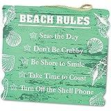 """KOVOT Wooden Style """"Beach Rules"""" Beach Sign, Green"""