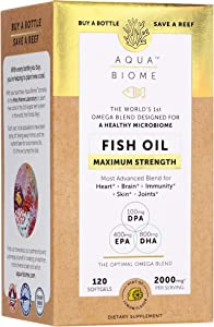 Aqua Biome by Enzymedica, Fish Oil Maximum Strength, Complete Omega 3 Supplement, DHA, EPA, DPA, Gluten Free & Non-GMO, 120 softgels (60 Servings)