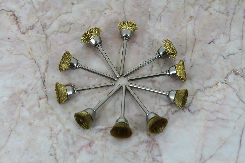 TEMO 10 pc Brass Rotary 3/4 inch (19mm) FLAT Wire Brush Wheel #535 ...
