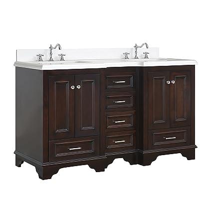 Delicieux Nantucket 60 Inch Double Bathroom Vanity (Quartz/Chocolate): Includes  Chocolate Cabinet