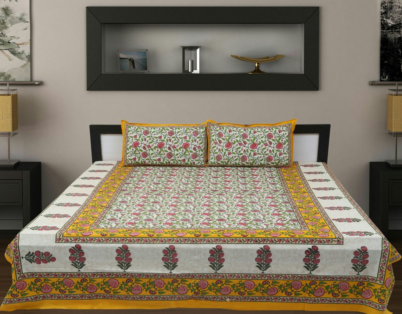 Traditional Mafia Luxury Collection Printed Double Bed Sheet Set with 2 Pillow Covers, King, Yellow/White