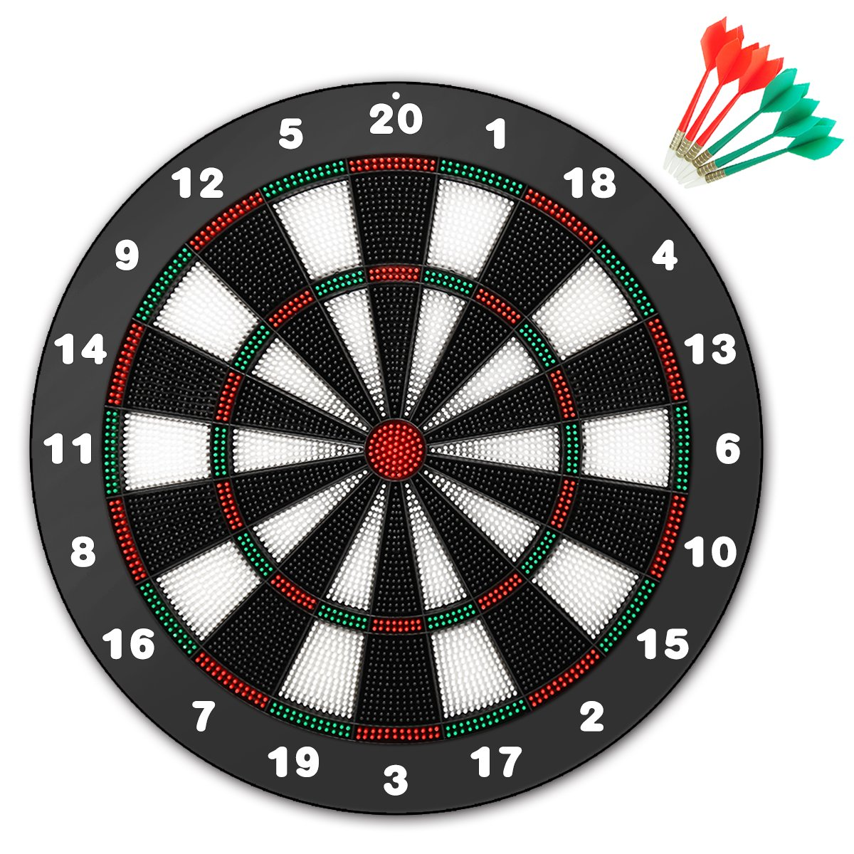CAMTOA Safety Dart and Dart Board Set, 16 Inch Rubber Dart Board -Professional Home Dartboard Kit with 6 Soft Tip Darts, Perfect for Adults and Children, Leisure Sport for Office/Home