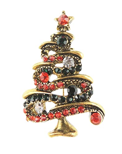 glamour girlz festive vintage look small diamante lapel brooch pin baubles christmas tree tinsel decoration