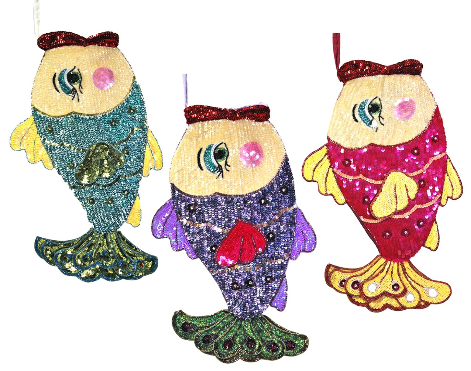Teal Blue Pink Kissing Fish Beaded Sequin Christmas Stockings Set of 3