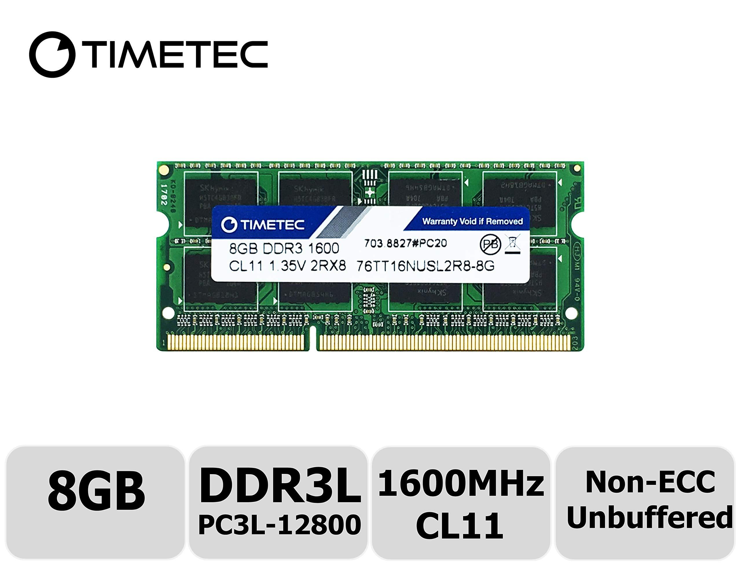 Timetec Hynix IC 8GB DDR3L 1600MHz PC3L-12800 Non ECC Unbuffered 1.35V CL11 2Rx8 Dual Rank 204 Pin SODIMM Laptop Notebook Computer Memory Ram Module Upgrade(8GB)