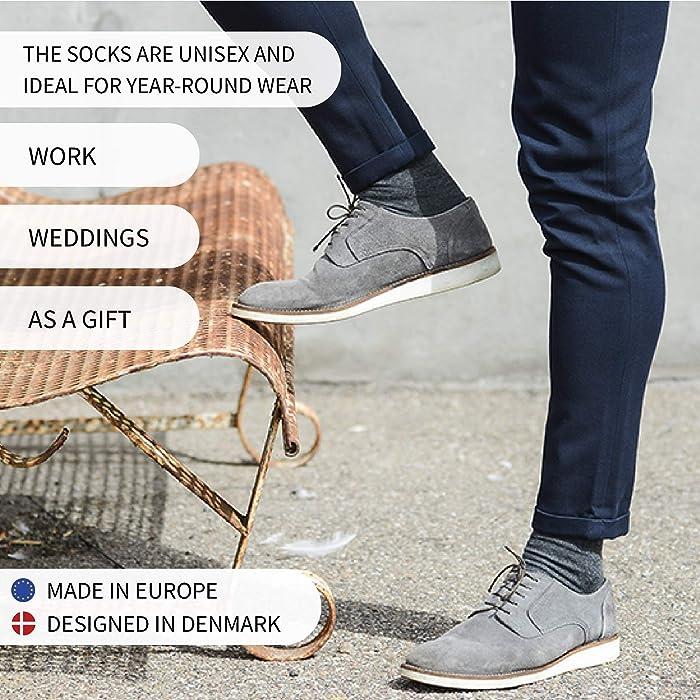 grau Feuchtigkeitsregulierung ideal im Fr/ühjahr und Sommer hergestellt in der EU schwarz Damen und Herren blau pink Anzugsocken atmungsaktiv DANISH ENDURANCE Merinowolle Socken