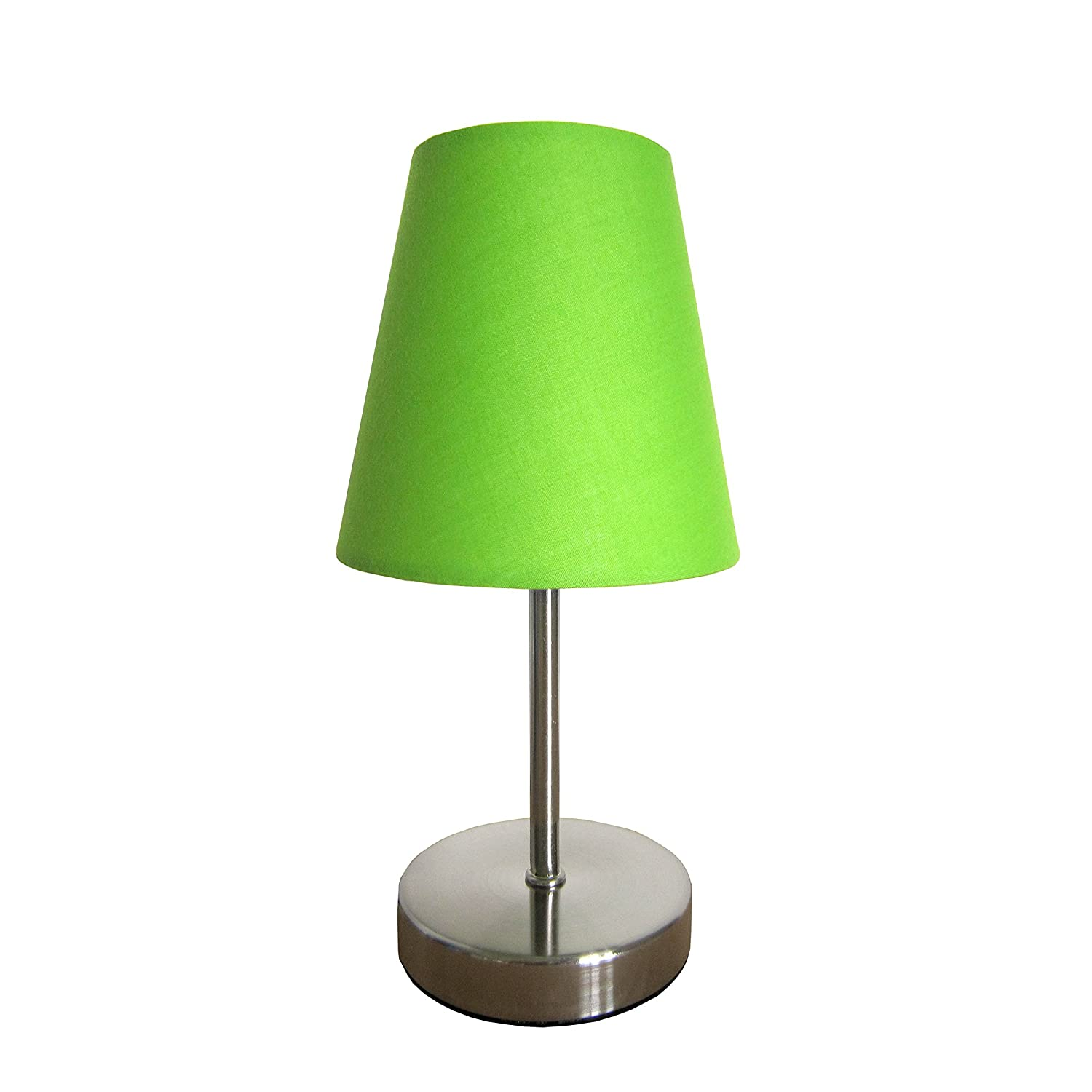 Simple Designs LT2013-GRN Sand Nickel Mini Basic Table Lamp with Fabric Shade, Green