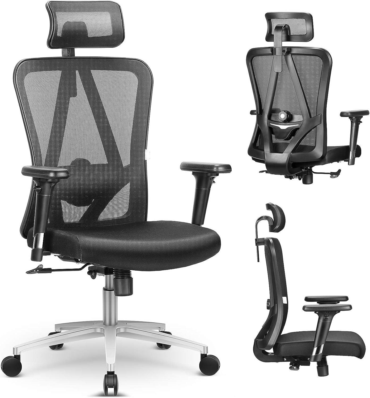 mfavour Ergonomic Office Chair Swivel Desk Chair with Lumbar Support Ergonomic Chair with Wheels Executive mesh Chair for Home Office Adjustable Headrest Backrest High Back Computer Desk Chair