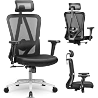 mfavour Ergonomische bureaustoel Mesh bureaustoel met verstelbare rugsteun, 3D-armleuning, hoge rugleuning bureaustoel…