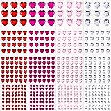 516 Pieces Acrylic Heart Rhinestone Sticker Heart Crystal Gems Sticker Self-Adhesive Rhinestone Sticker Flat Back Heart Rhine