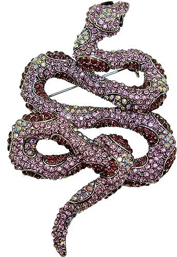 "Unique 3.94/"" violet Autrichien Cristal Animal Serpent Broche Broche Pendentif 05847C2"