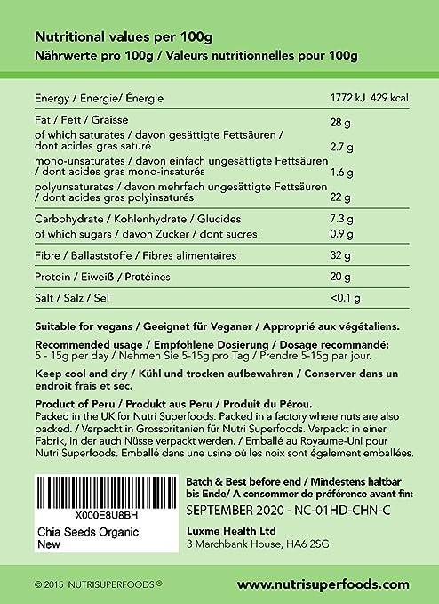 SEMILLAS DE CHÍA ORGÁNICAS NATURALES. Proteína Vegetal de Alta Calidad, alimento energizante que mejora el Rendimiento y la resistencia física, ...