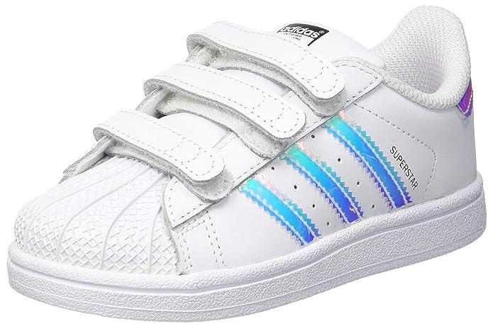 adidas Superstar Sneakers mit Klettverschluss Baby Schuhe Unisex Weiß mit blauen Streifen