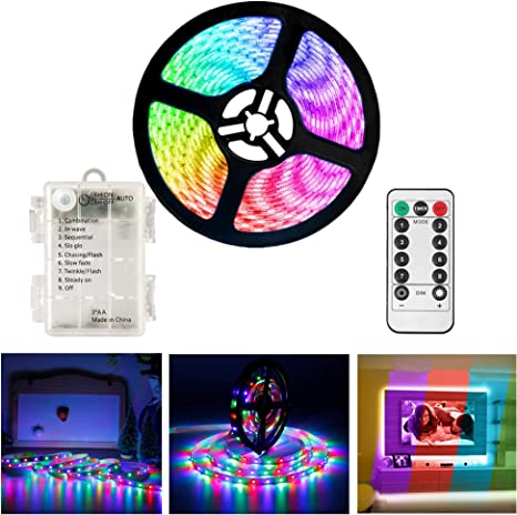 Amazon Com Led Strip Lights Battery Powered Waterproof 3m 9 8ft Smd 5050 Flexible Led Light Strips Ribbon Light Mood Light With Remote Timer 8 Mode Dimmable Tape Lights For Bedroom Home Kitchen Multi Colored Home Improvement