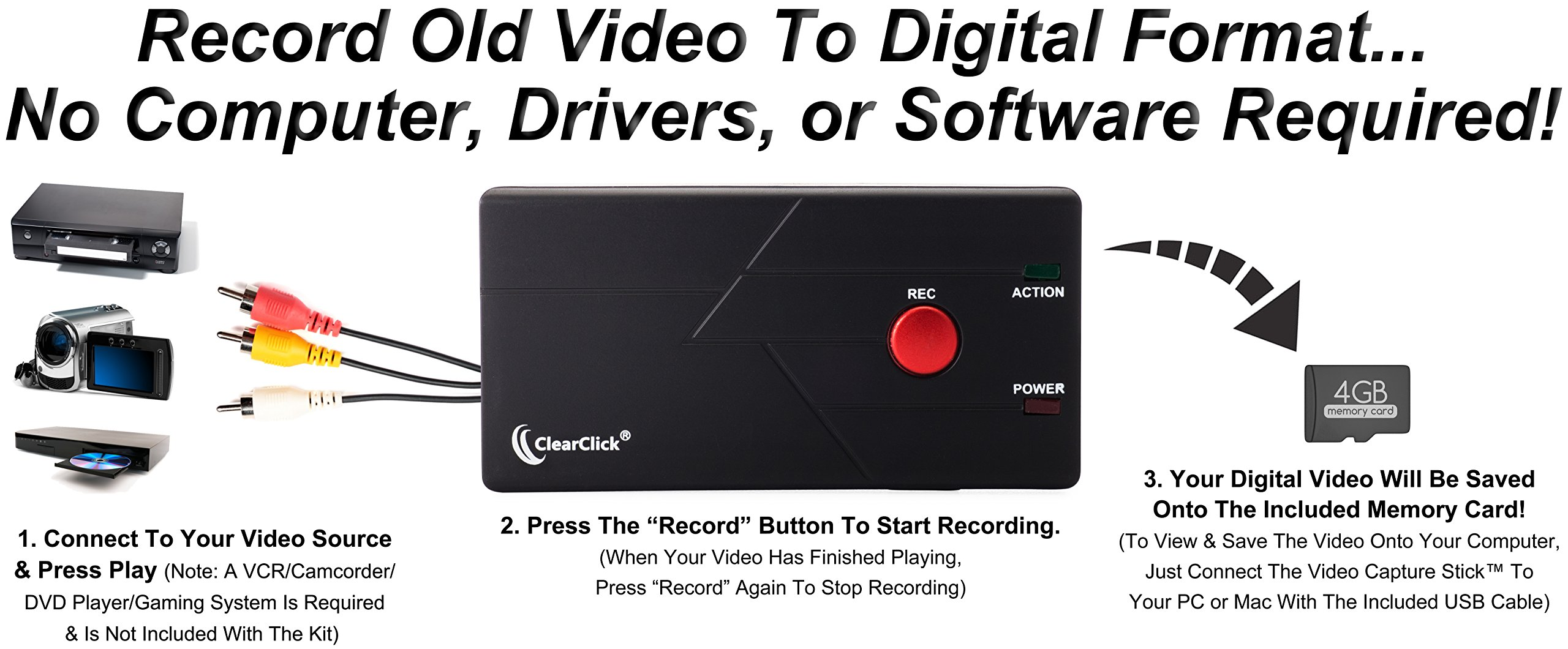 ClearClick Video Capture Stick - USB Video Grabber Device To Record From VCR, VHS Tapes, Hi8, Camcorder, DVD, More by ClearClick (Image #2)